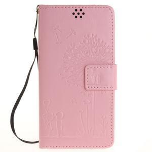 Dandely PU kožené pouzdro na mobil Sony Xperia XA - růžové - 1