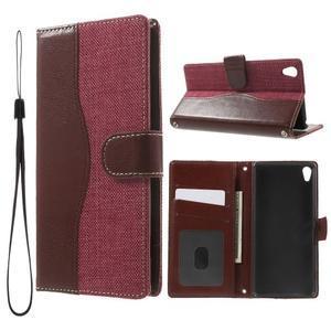 Jeansy PU kožené/textilní pouzdro na Sony Xperia XA - rose - 1