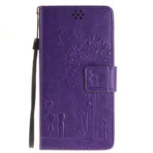 Dandely PU kožené pouzdro na mobil Sony Xperia XA - fialové - 1