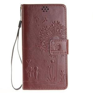 Dandely PU kožené pouzdro na mobil Sony Xperia XA - hnědé - 1