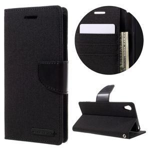 Canvas PU kožené/textilní pouzdro na mobil Sony Xperia XA - černé - 1