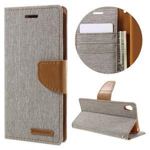 Canvas PU kožené/textilní pouzdro na mobil Sony Xperia XA - šedé - 1