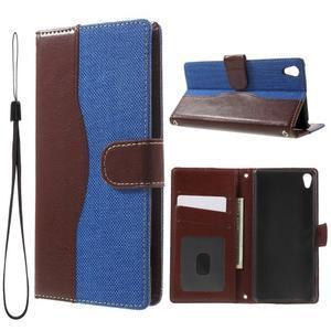 Jeansy PU kožené/textilní pouzdro na Sony Xperia XA - modré - 1
