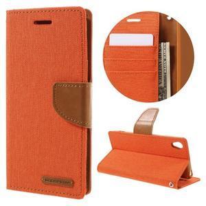 Canvas PU kožené/textilní pouzdro na mobil Sony Xperia XA - oranžové - 1