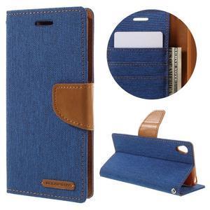 Canvas PU kožené/textilní pouzdro na mobil Sony Xperia XA - modré - 1