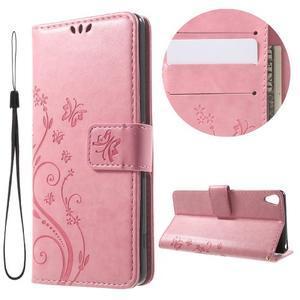 Butterfly pouzdro na mobil Sony Xperia XA - růžové - 1
