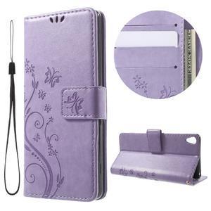 Butterfly pouzdro na mobil Sony Xperia XA - fialové - 1