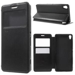 Royal PU kožené pouzdro s okýnkem na Sony Xperia XA - černé - 1