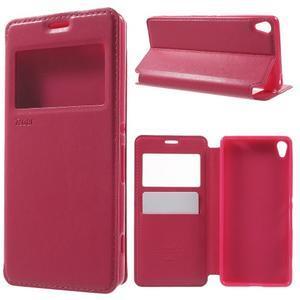 Royal PU kožené pouzdro s okýnkem na Sony Xperia XA - rose - 1