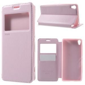 Royal PU kožené pouzdro s okýnkem na Sony Xperia XA - růžové - 1