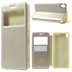 Royal PU kožené pouzdro s okýnkem na Sony Xperia XA - zlaté - 1