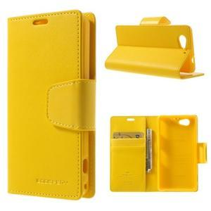 Sonata PU kožené pouzdro na mobil Sony Xperia Z1 Compact - žluté - 1