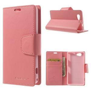Sonata PU kožené pouzdro na mobil Sony Xperia Z1 Compact - růžové - 1
