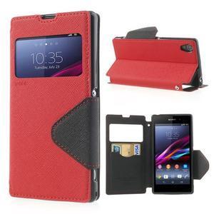 Okýnkové pouzdro na mobil Sony Xperia Z1 - červené - 1
