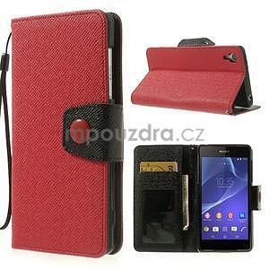 Stylové peněženkové pouzdro na Sony Xperia Z2 - červené/černé - 1
