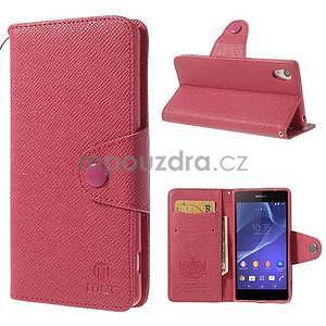 Stylové peněženkové pouzdro na Sony Xperia Z2 - rose - 1