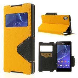 Okýnkové pouzdro na mobil Sony Xperia Z2 - žluté - 1