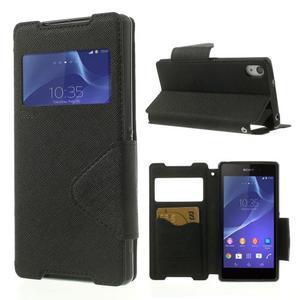 Okýnkové pouzdro na mobil Sony Xperia Z2 - černé - 1