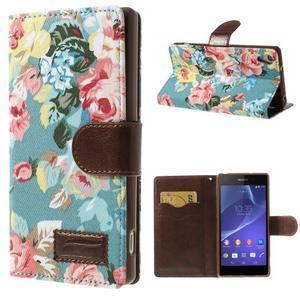 Květinové pouzdro na mobil Sony Xperia Z2 - modré - 1