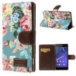 Květinové pouzdro na mobil Sony Xperia Z2 - modré - 1/7