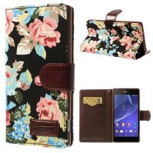 Květinové pouzdro na mobil Sony Xperia Z2 - černé - 1