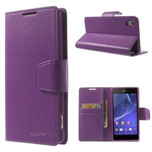 Sonata PU kožené pouzdro na mobil Sony Xperia Z2 - fialové - 1