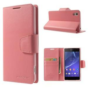 Sonata PU kožené pouzdro na mobil Sony Xperia Z2 - růžové - 1