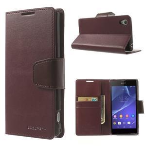 Sonata PU kožené pouzdro na mobil Sony Xperia Z2 - vínové - 1