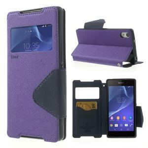 Okýnkové pouzdro na mobil Sony Xperia Z2 - fialové - 1