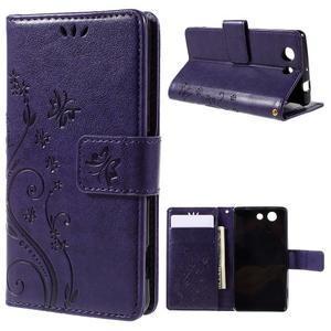 Butterfly PU kožené pouzdro na mobil Sony Xperia Z3 Compact - fialové - 1