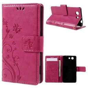 Butterfly PU kožené pouzdro na mobil Sony Xperia Z3 Compact - rose - 1