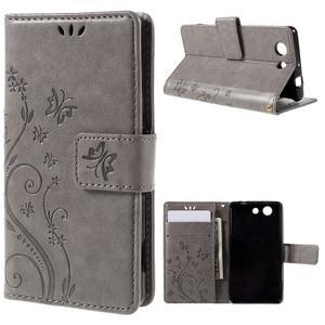 Butterfly PU kožené pouzdro na mobil Sony Xperia Z3 Compact - šedé - 1