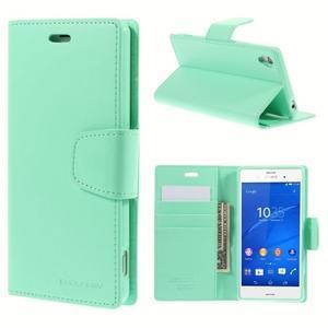 Sonata PU kožené pouzdro na mobil Sony Xperia Z3 - azurové - 1