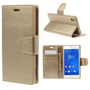 Sonata PU kožené pouzdro na mobil Sony Xperia Z3 - zlaté - 1