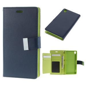 Luxury PU kožené pouzdro na mobil Sony Xperia Z3 - tmavěmodré - 1