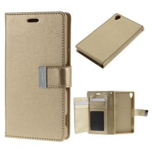 Luxury PU kožené pouzdro na mobil Sony Xperia Z3 - champagne - 1