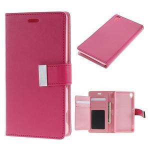 Luxury PU kožené pouzdro na mobil Sony Xperia Z3 - rose - 1