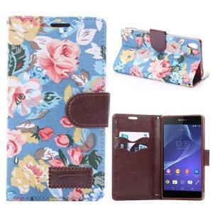 Květinové pouzdro na mobil Sony Xperia Z3 - modré - 1