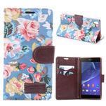 Květinové pouzdro na mobil Sony Xperia Z3 - modré - 1/7