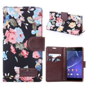 Květinové pouzdro na mobil Sony Xperia Z3 - černé - 1