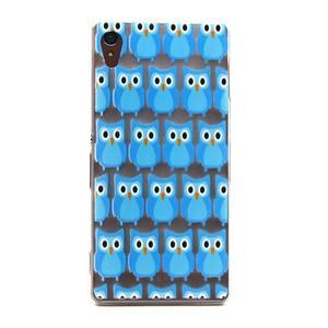Gelový obal na mobil Sony Xperia Z3 - modré sovičky - 1