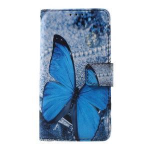 Fun peněženkové pouzdro na Samsung Galaxy A3 (2016) - modrý motýl - 1