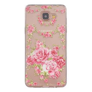 Slim průhledný gelový obal na Samsung Galaxy A3 (2016) - růže - 1