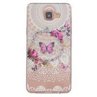 Slim průhledný gelový obal na Samsung Galaxy A3 (2016) - květinový motýl - 1/4