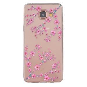 Slim průhledný gelový obal na Samsung Galaxy A3 (2016) - květy svěstky - 1