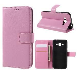 Peněženkové pouzdro na mobil Samsung Galaxy J3 (2016) - růžové - 1