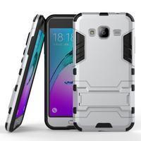 Outdoor odolný obal na Samsung Galaxy J3 (2016)- stříbrné - 1/3