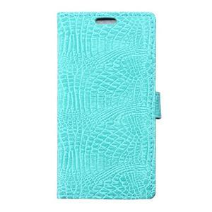 Croco peněženkové pouzdro na Samsung Galaxy Trend 2 Lite - cyan - 1