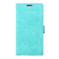 Croco peněženkové pouzdro na Samsung Galaxy Trend 2 Lite - cyan - 1/7