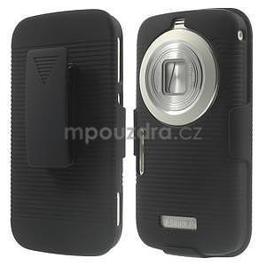 Odolný pogumovaný kryt se stojánkem na Samsung Galaxy K Zoom - černý - 1